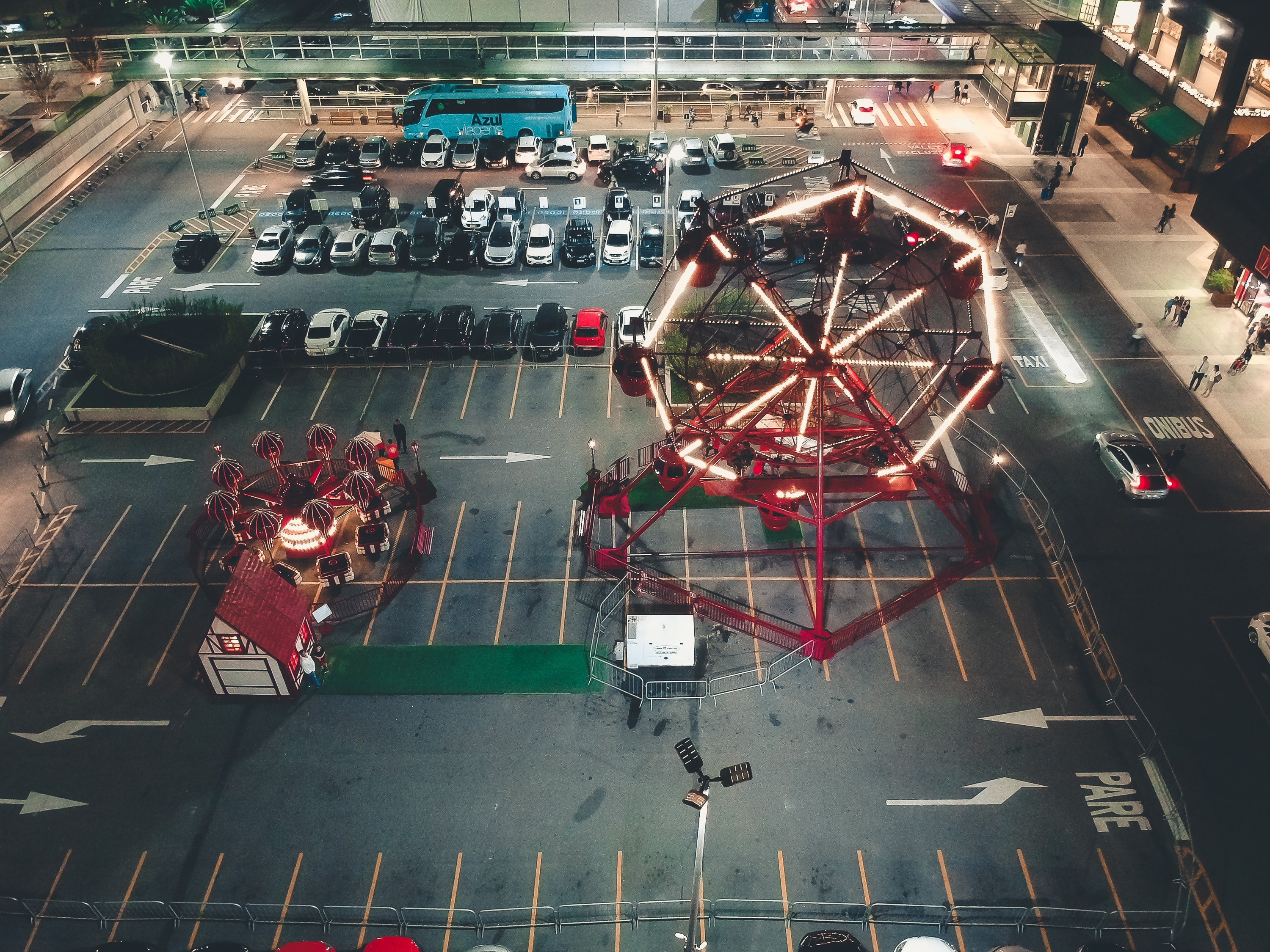 high-angle photography of Ferris wheel