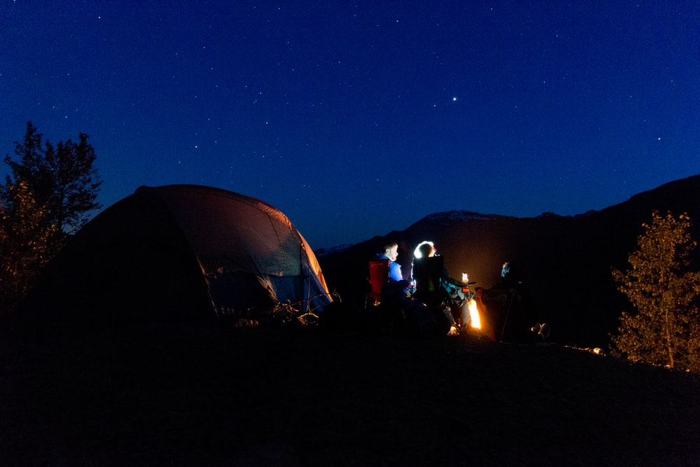 silhouette photo of tent