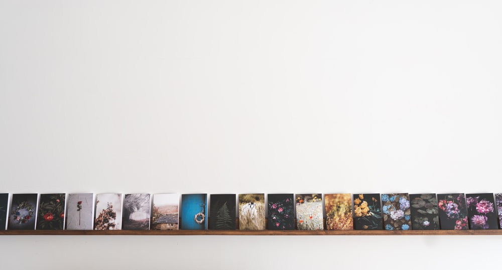 assorted paintings mounted on white wall
