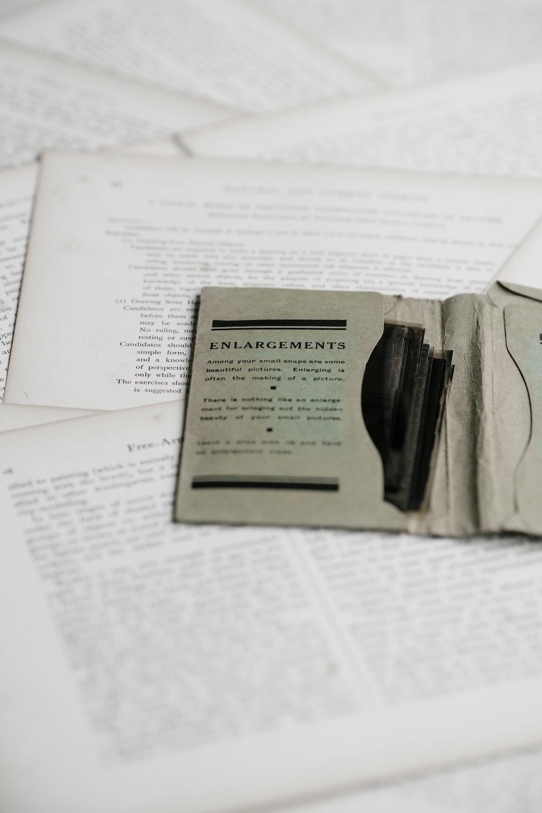 Vintage enlargements envelope containing negatives