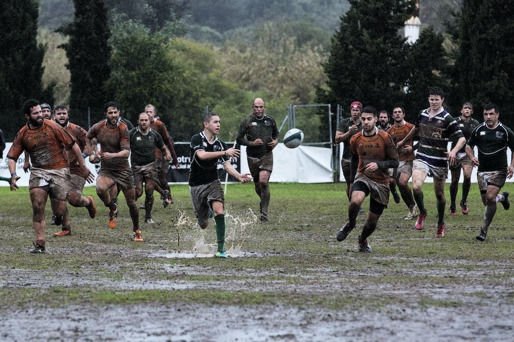 men playing football