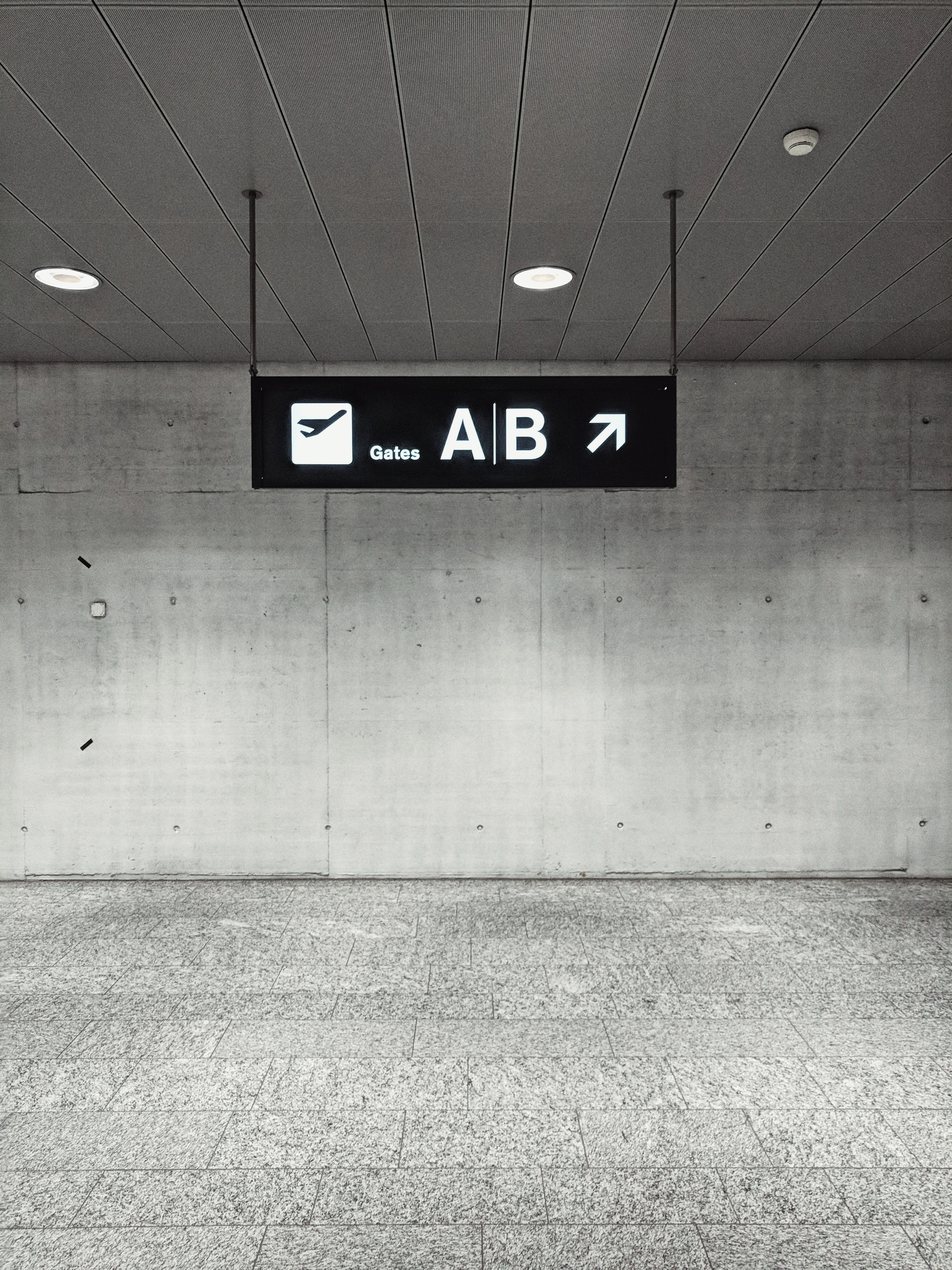 white and black A/B signage