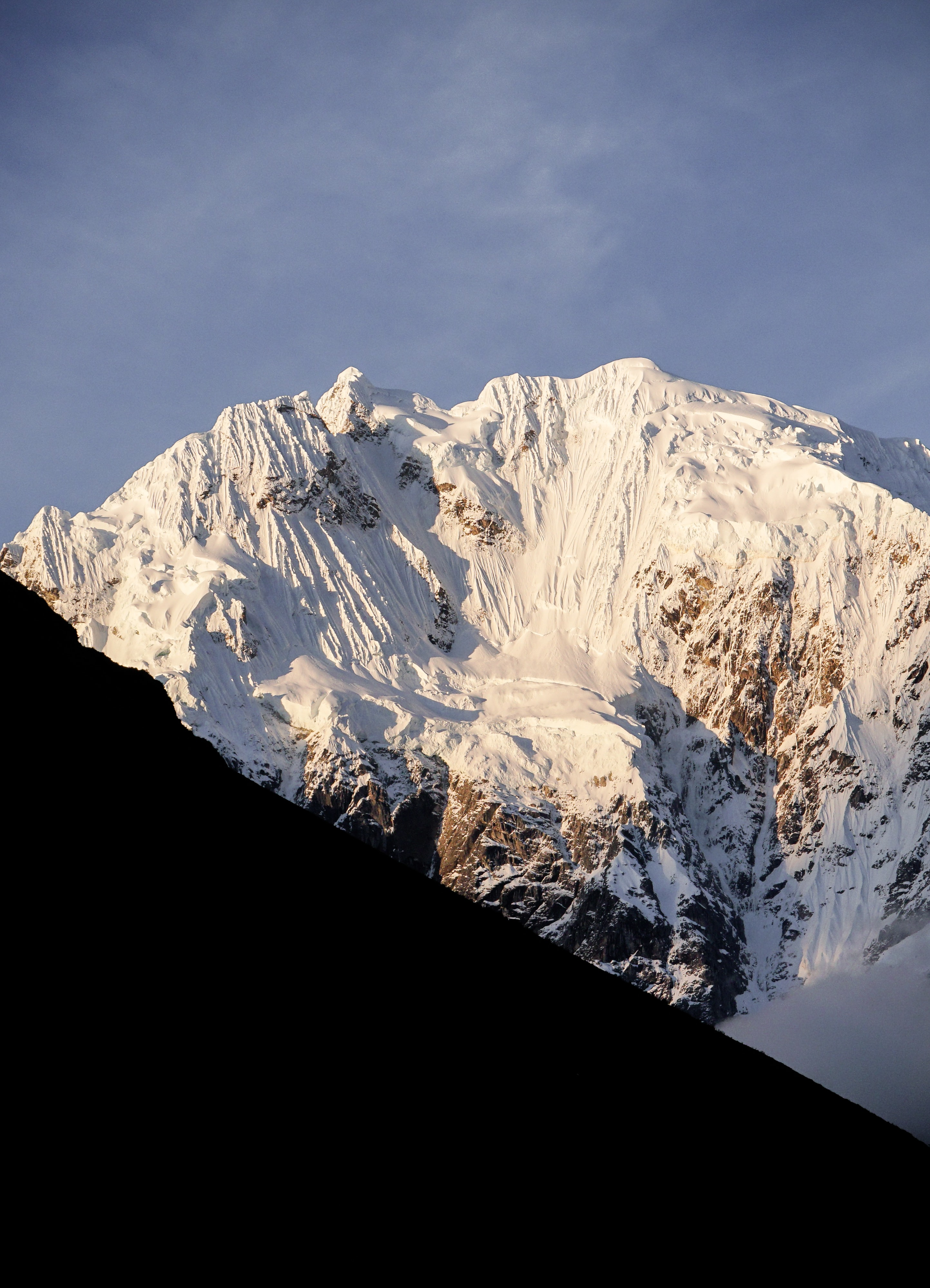 mountain covering with snow