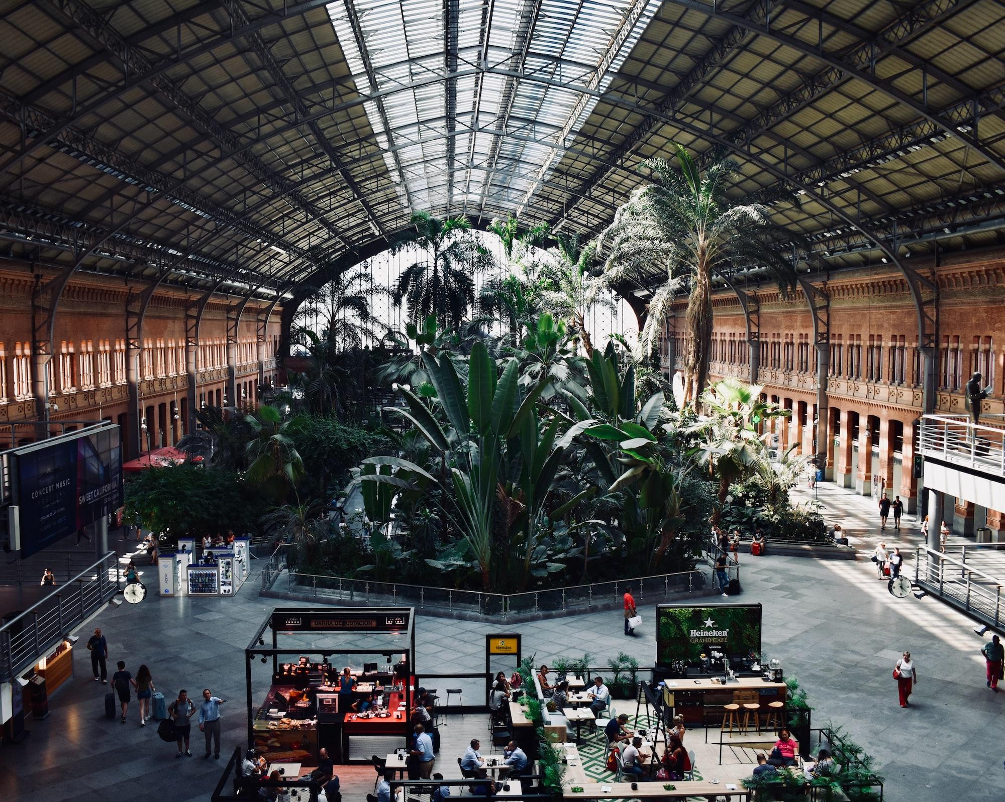 Botanical Garden in Madrid Atocha Train Statino
