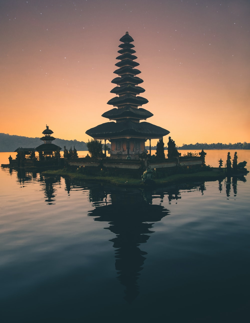 temple in between body of water