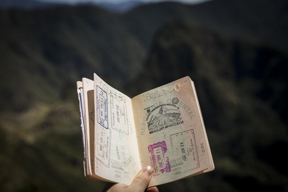 person holding passport