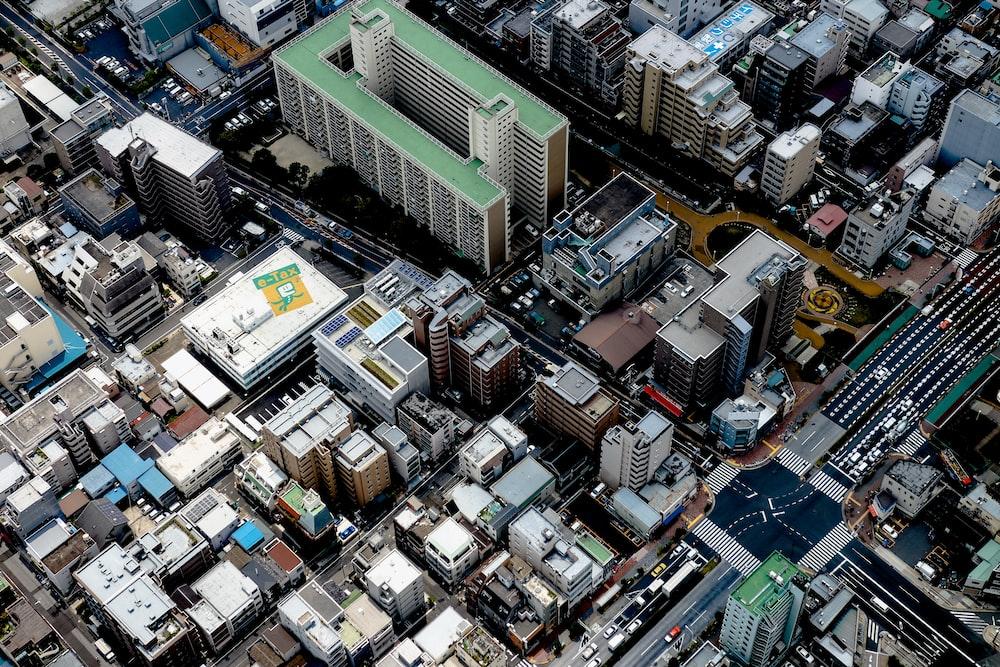 birds eye view of city building