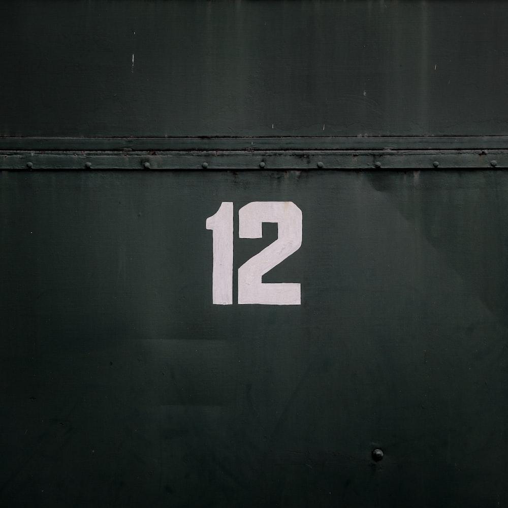 12-printed on black steel gate