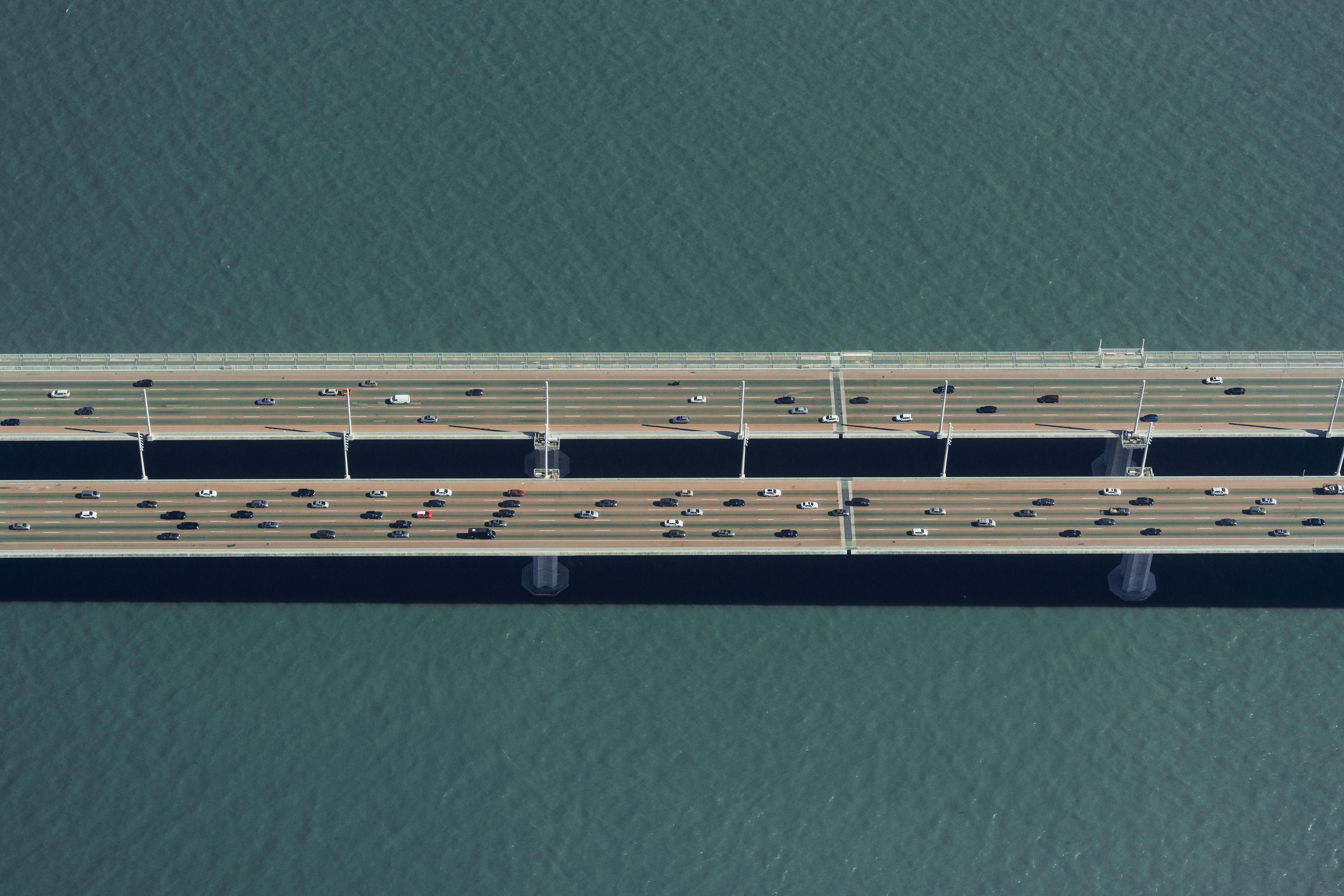 aerial view of cars on bridge