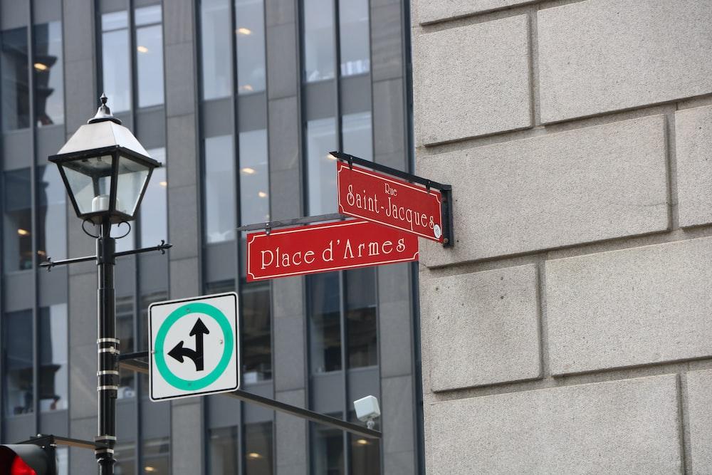 Saint-Jacques beside Place D' Armcs signages