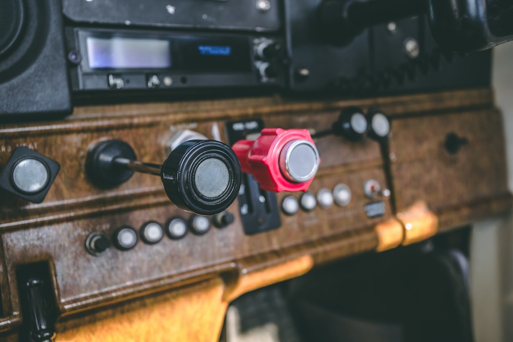 red and black control knobs