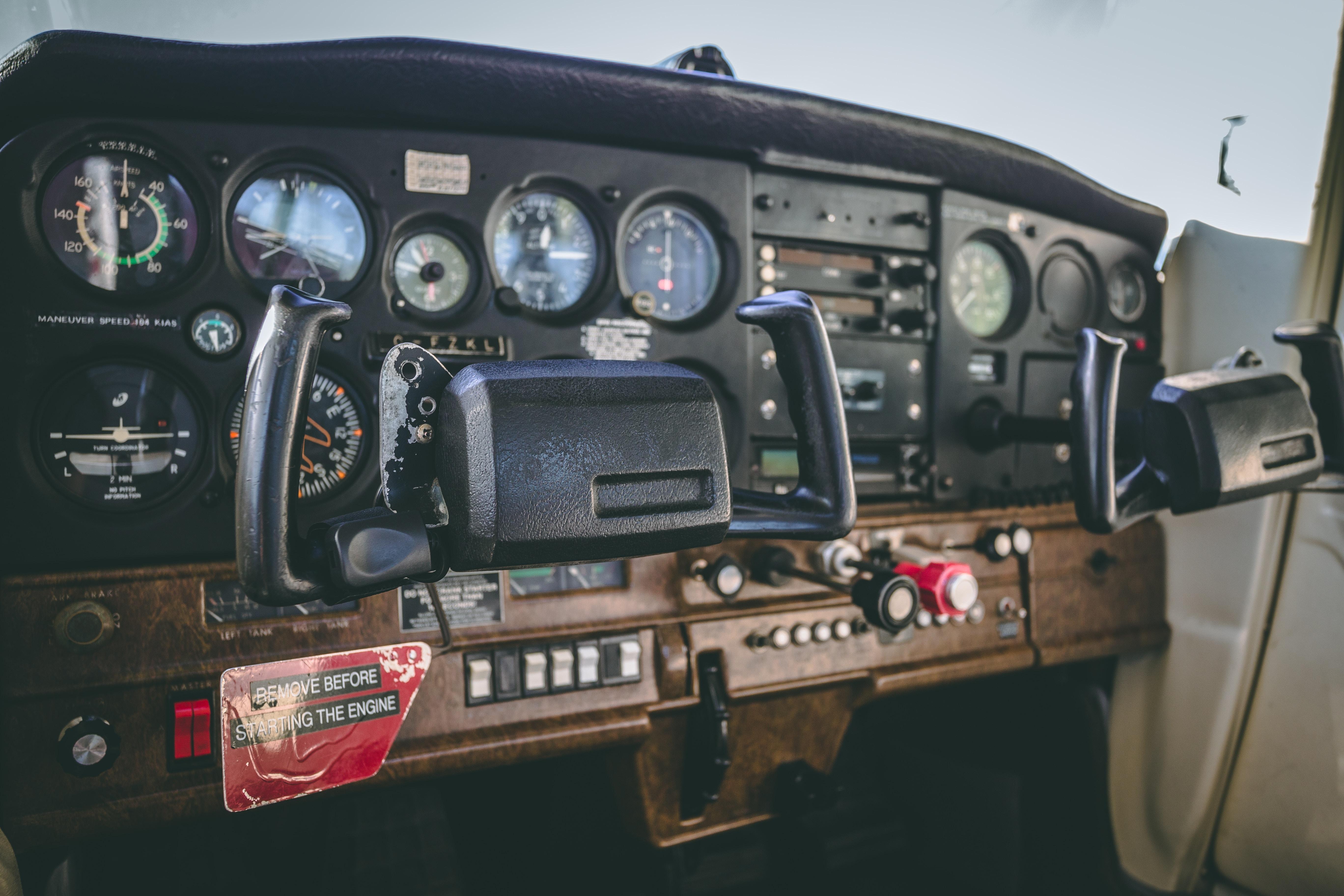 black airplane dashboard
