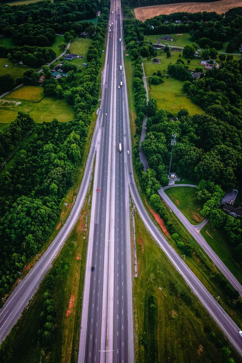 aerial photography of highway