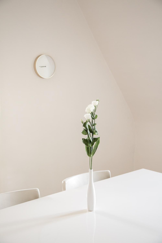 white flowers in white ceramic vase on top of white table
