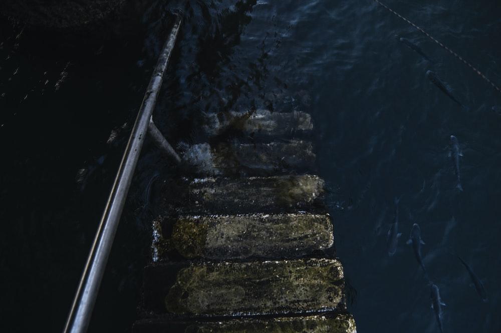 grey concrete stair