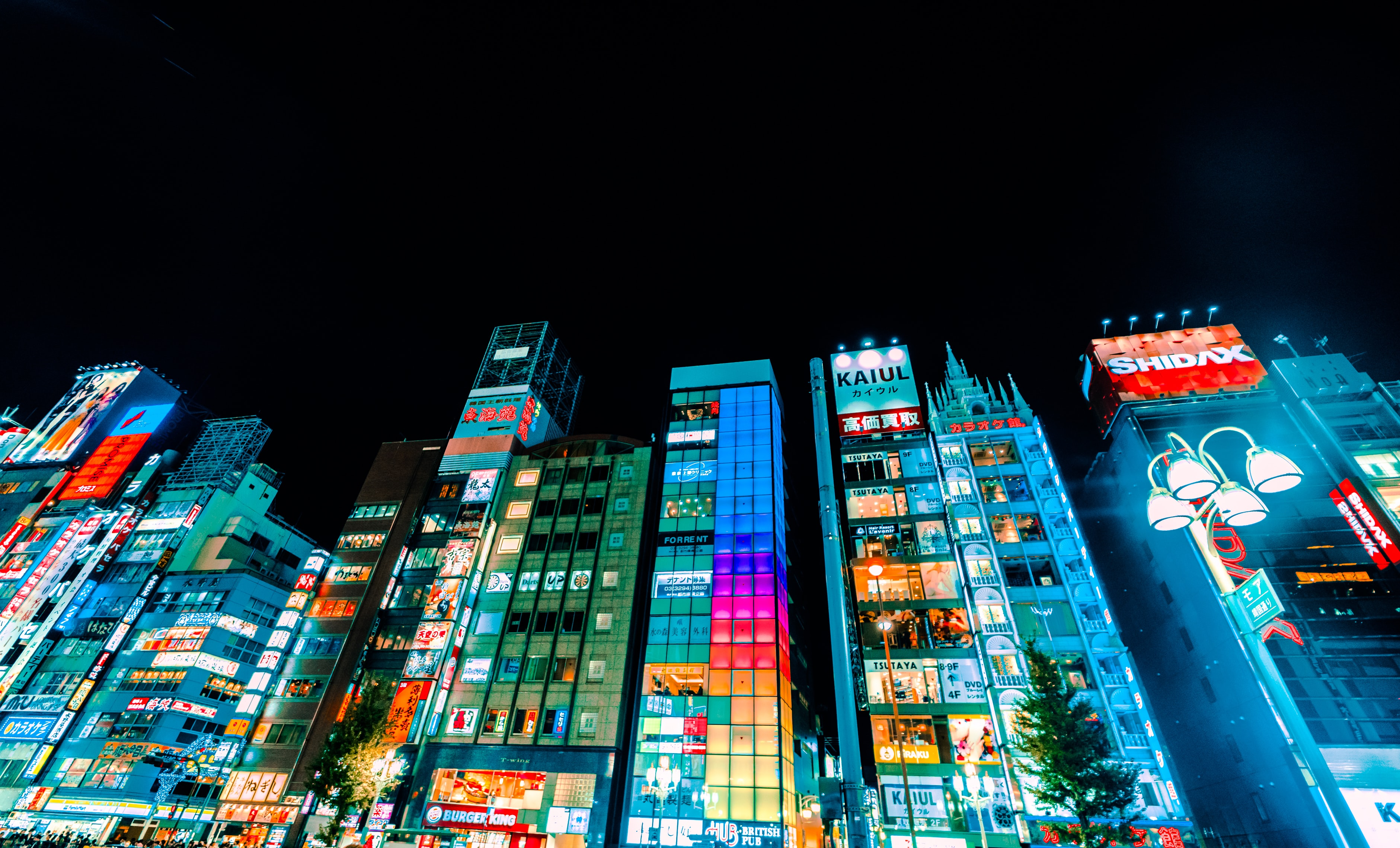 low-angle photography of buildings during nighttime