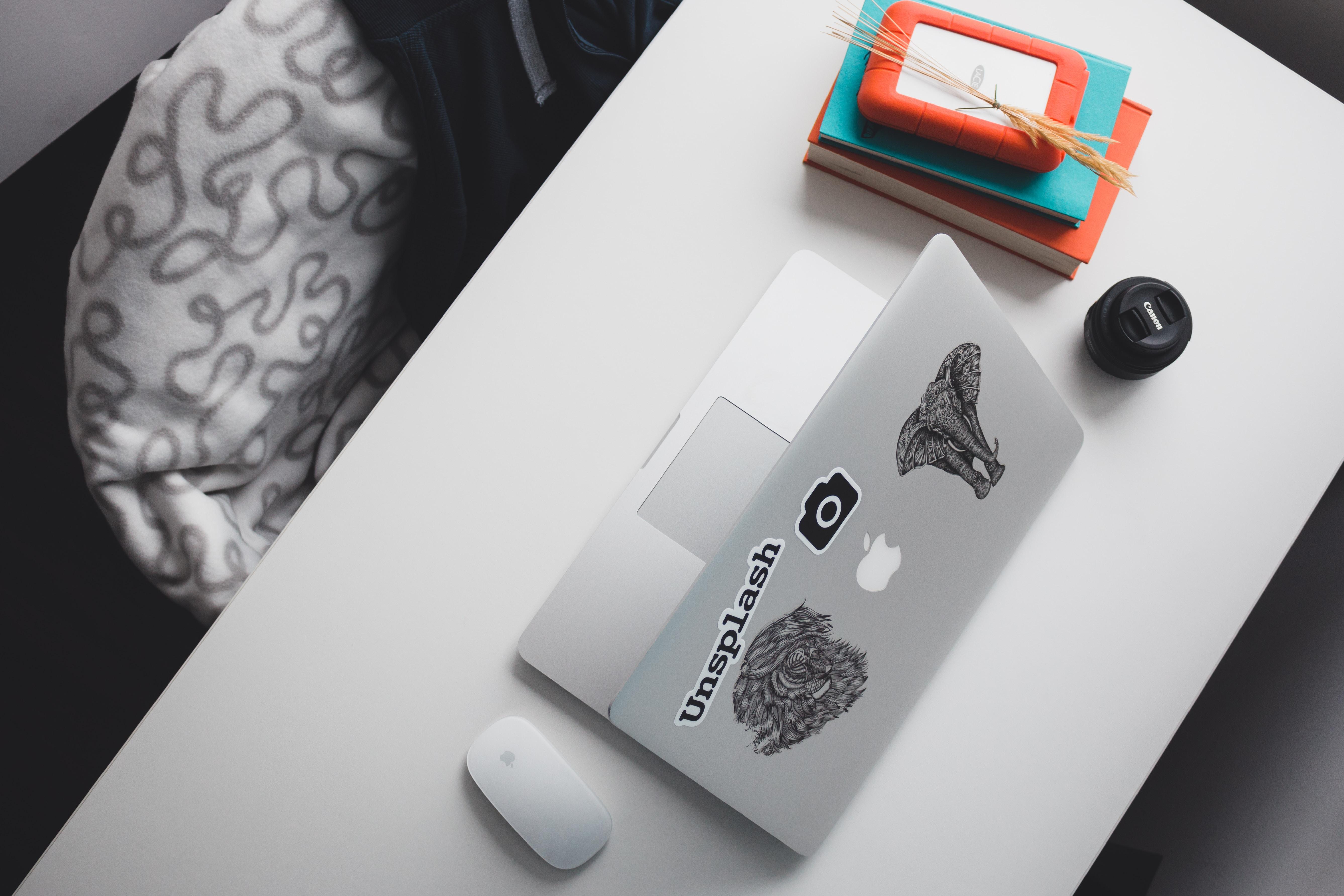 opened silver MacBook