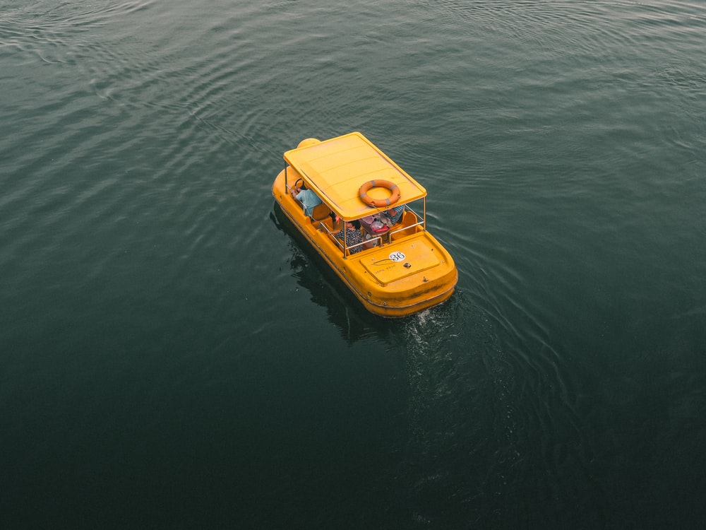 bird's eye view photography of yellow boat