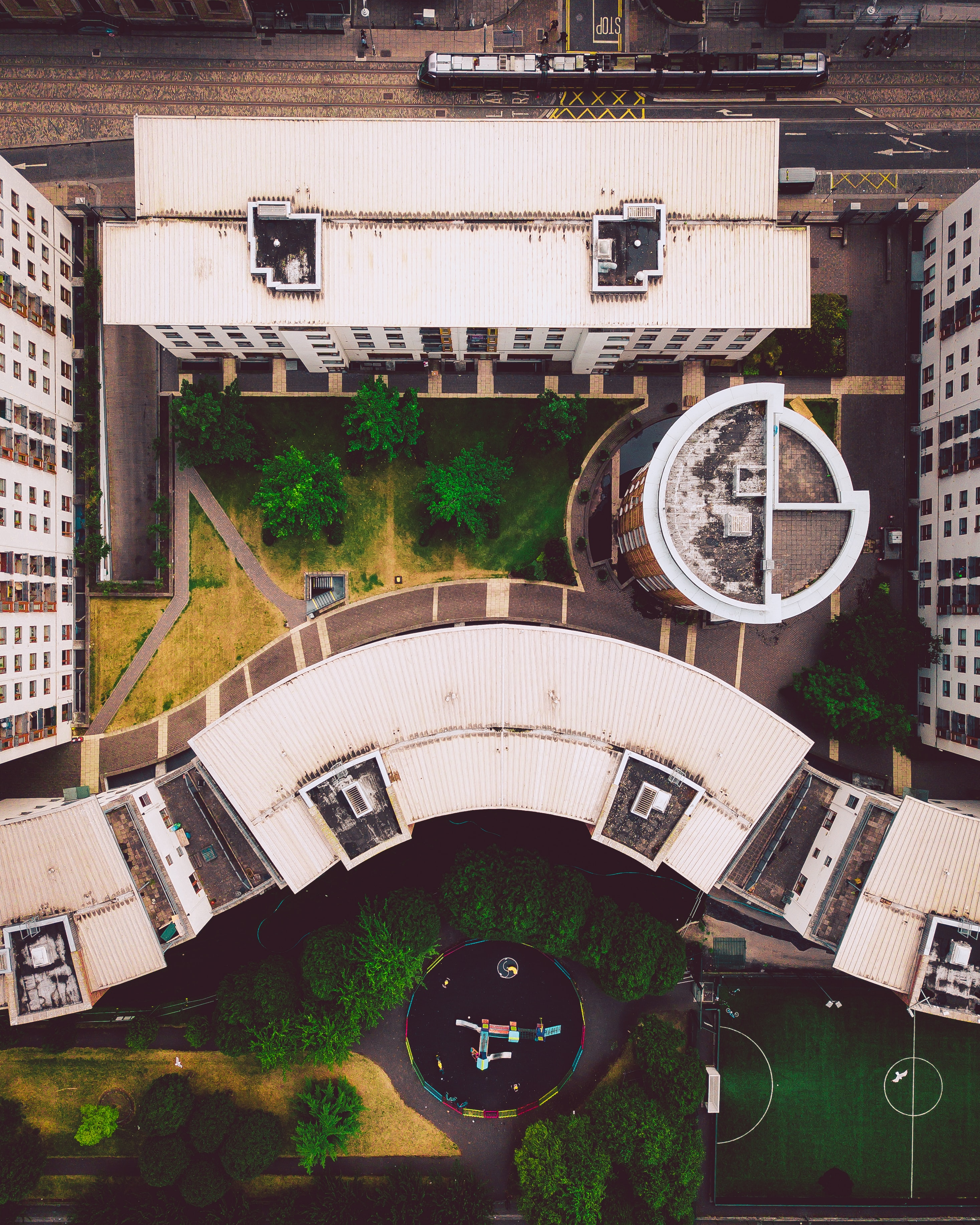 bird's eye view photography of two high-rise buildings