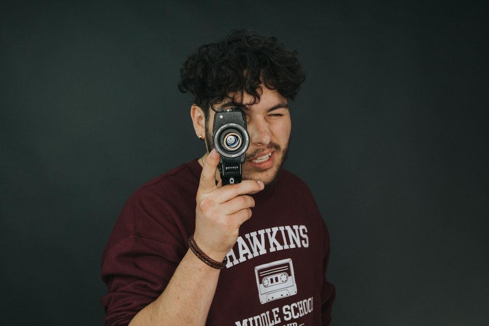 person using land camera