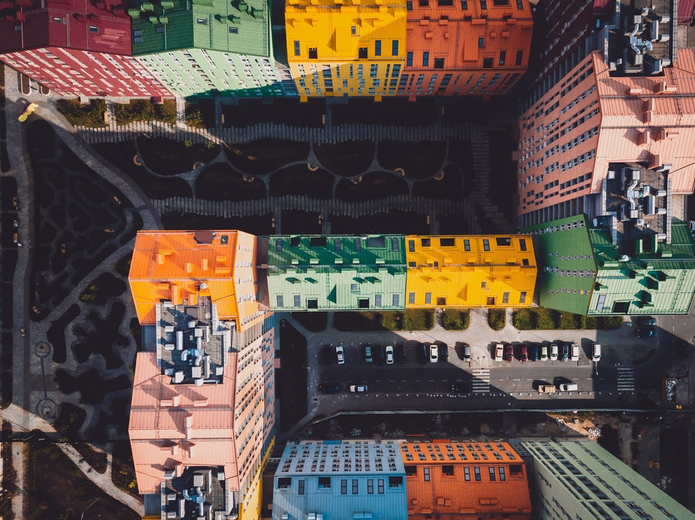 aerial photography of assorted-color buildings at daytime