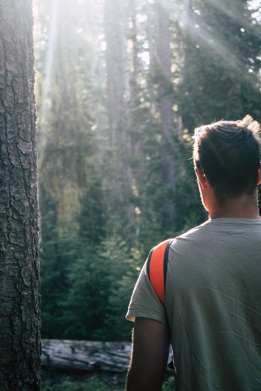 man standing near tree while facing sunlight photo – Free Human ...