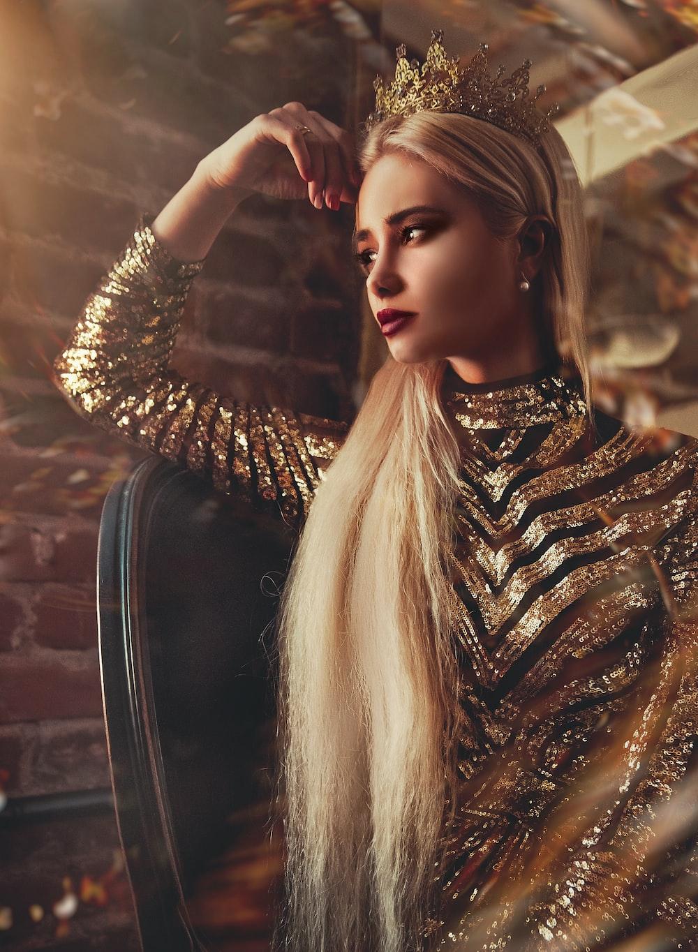 women's gold long-sleeved dress