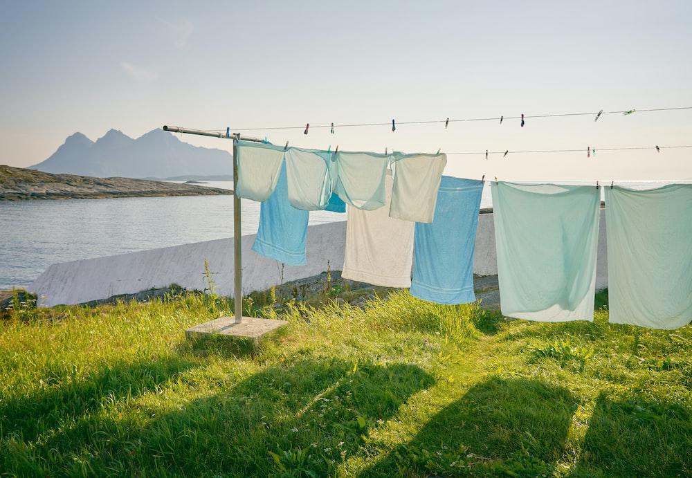 row of hanged textiles