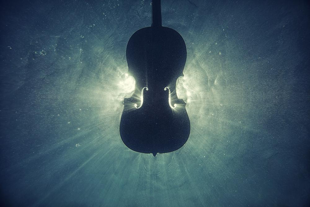 black violin on underwater digital wallpaper