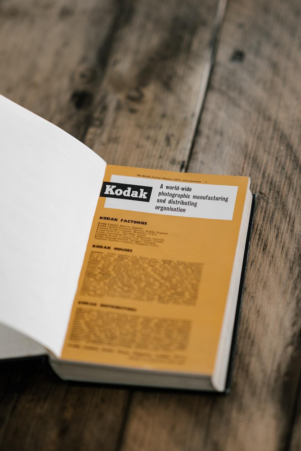 closeup photo of Kodak book