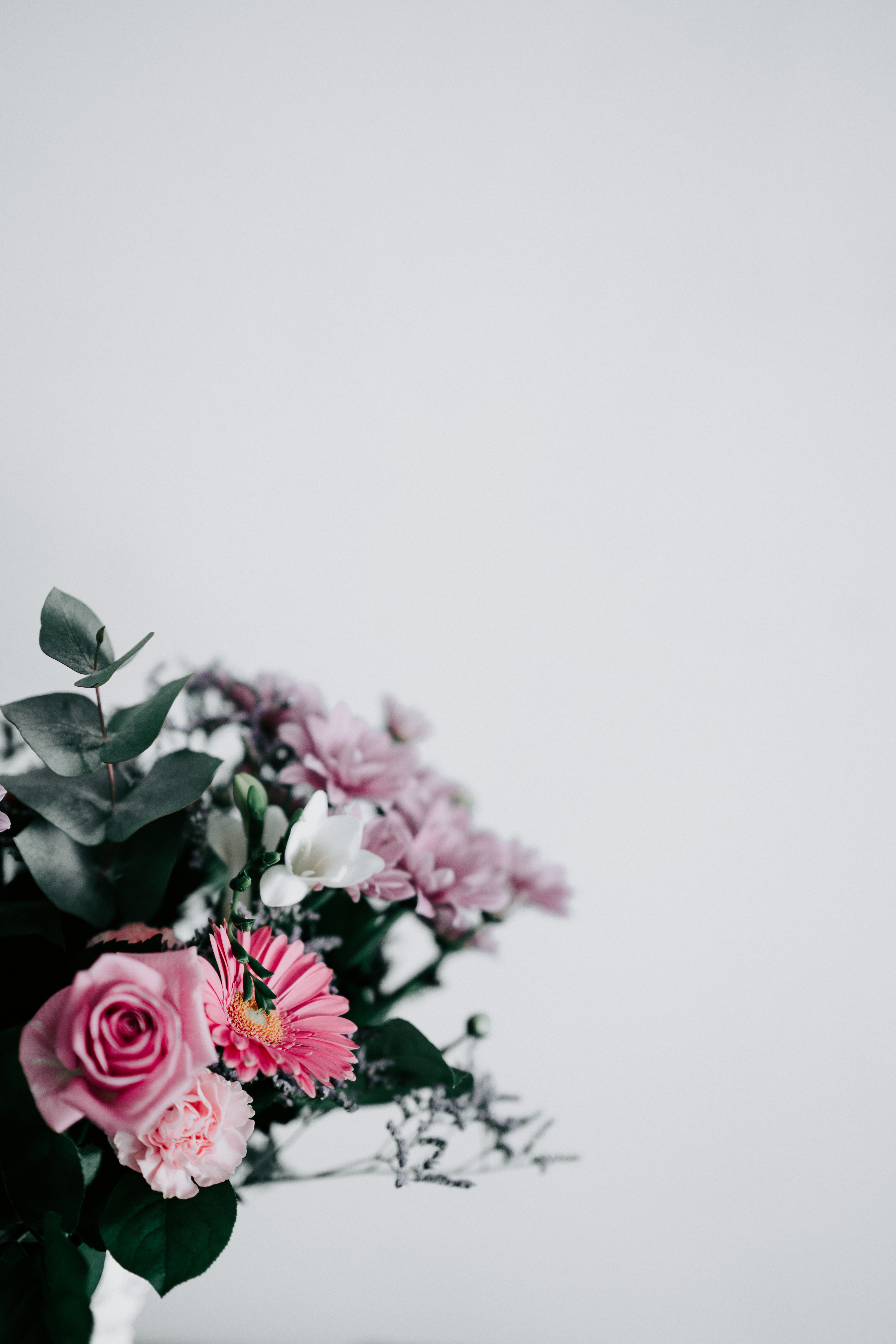 pink and white flower arrangement
