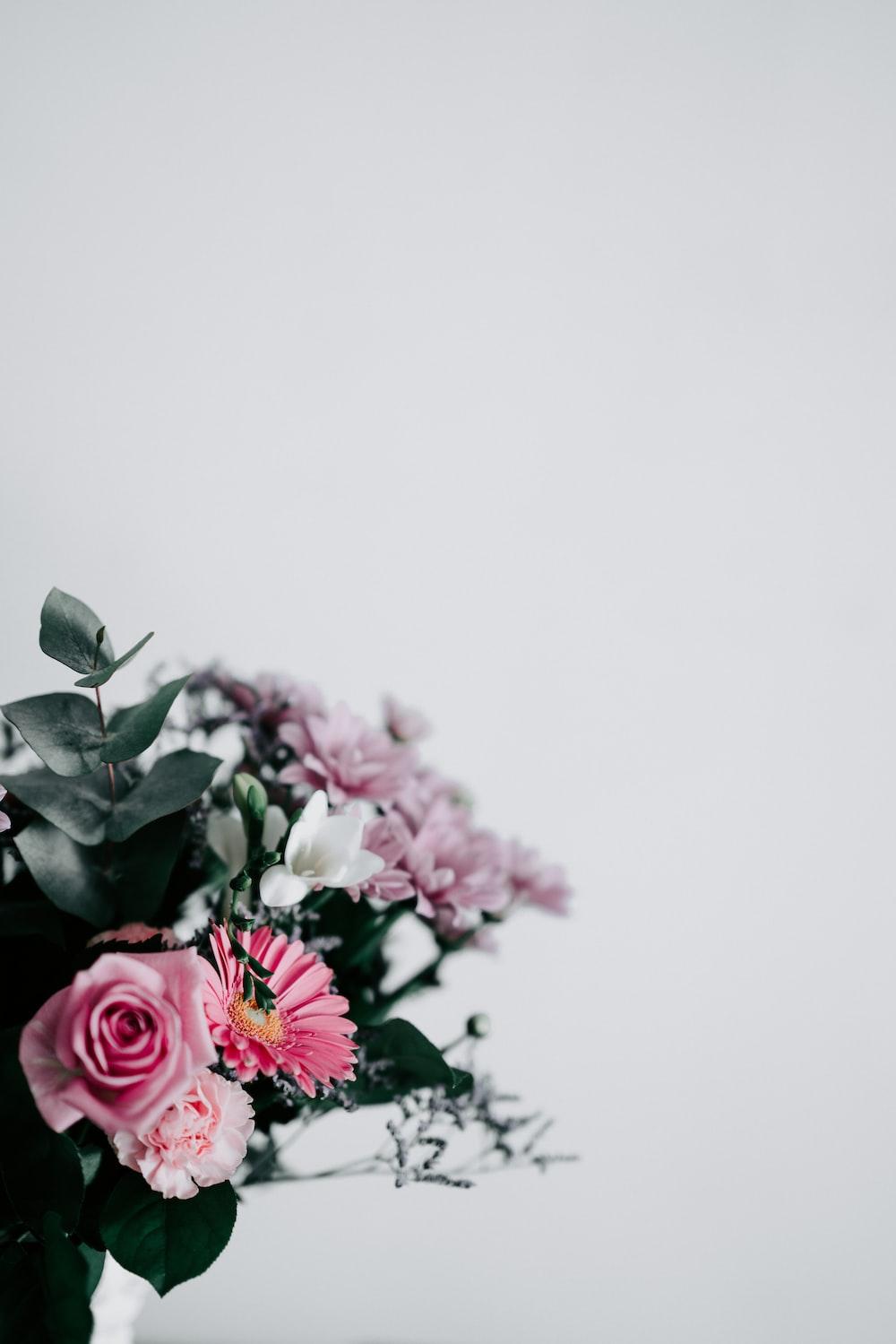 pink and white flower arrangement
