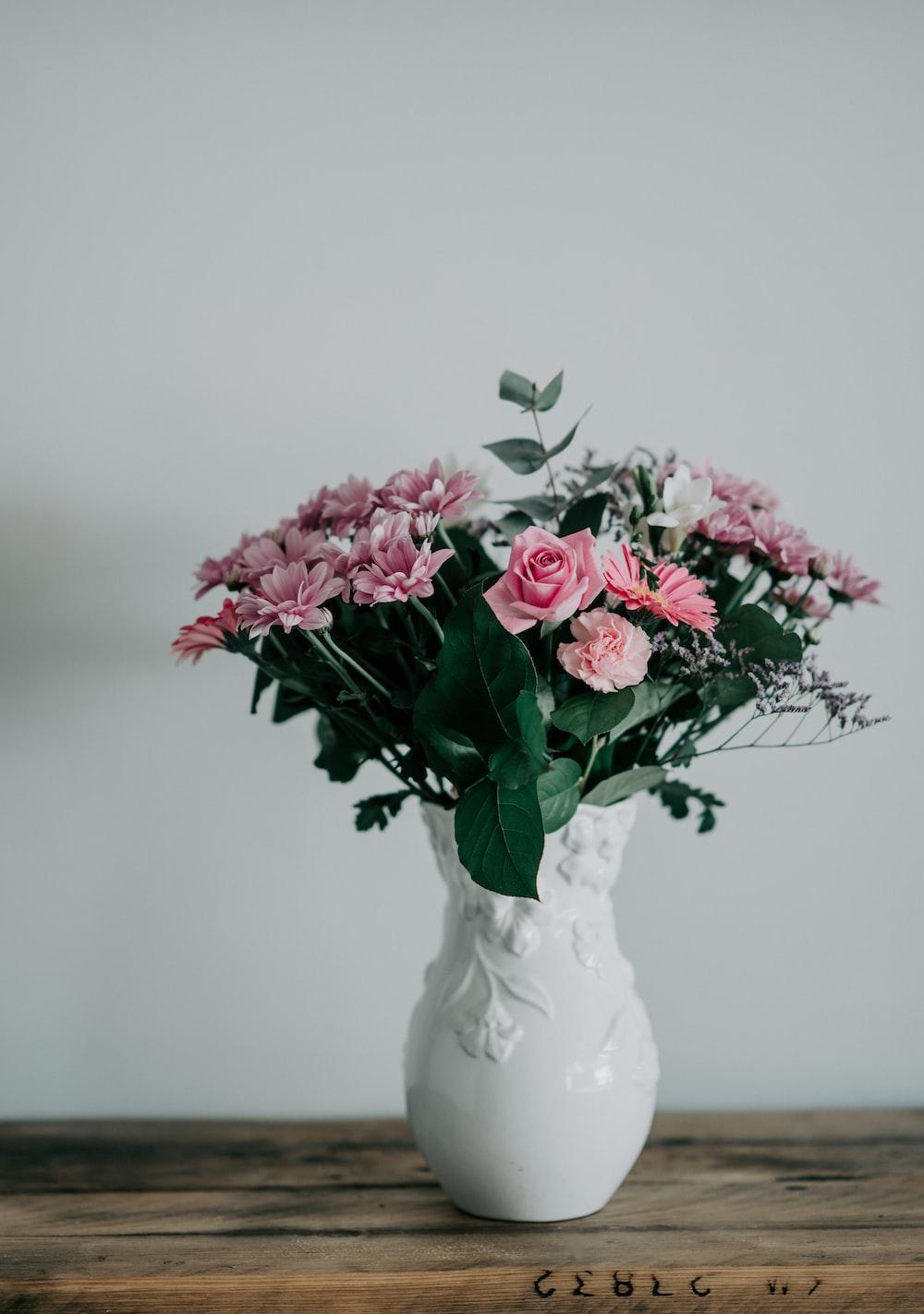 pink flower bouquet in white vase