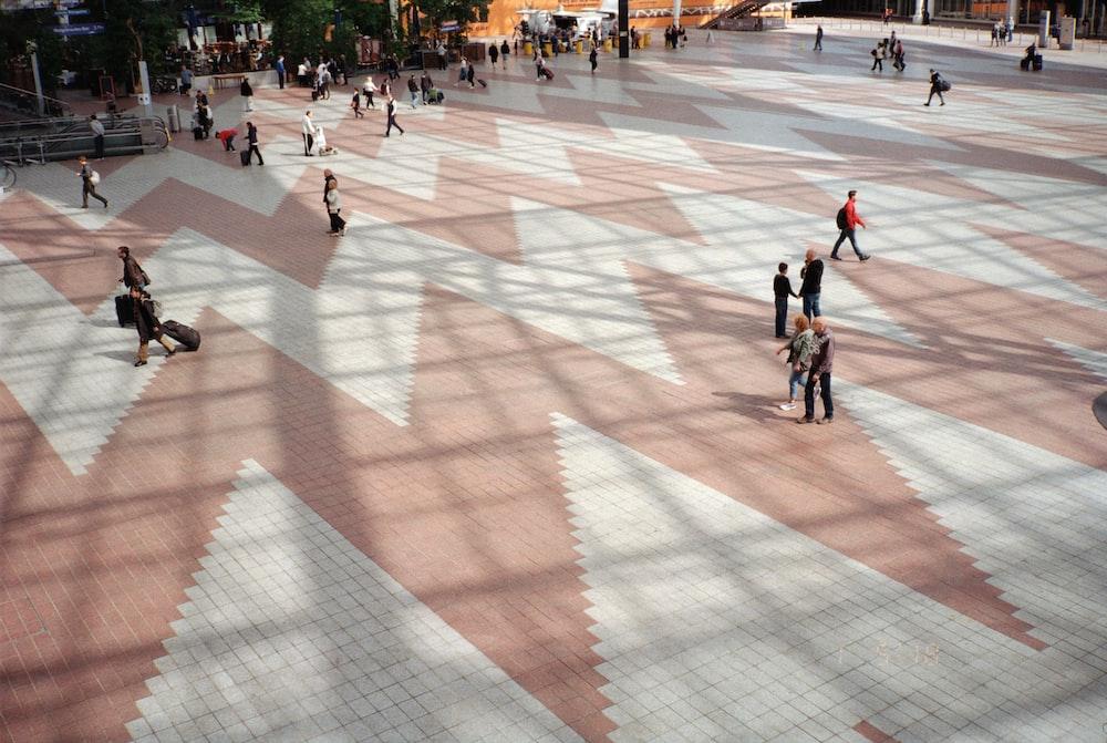 photo of people walking on park