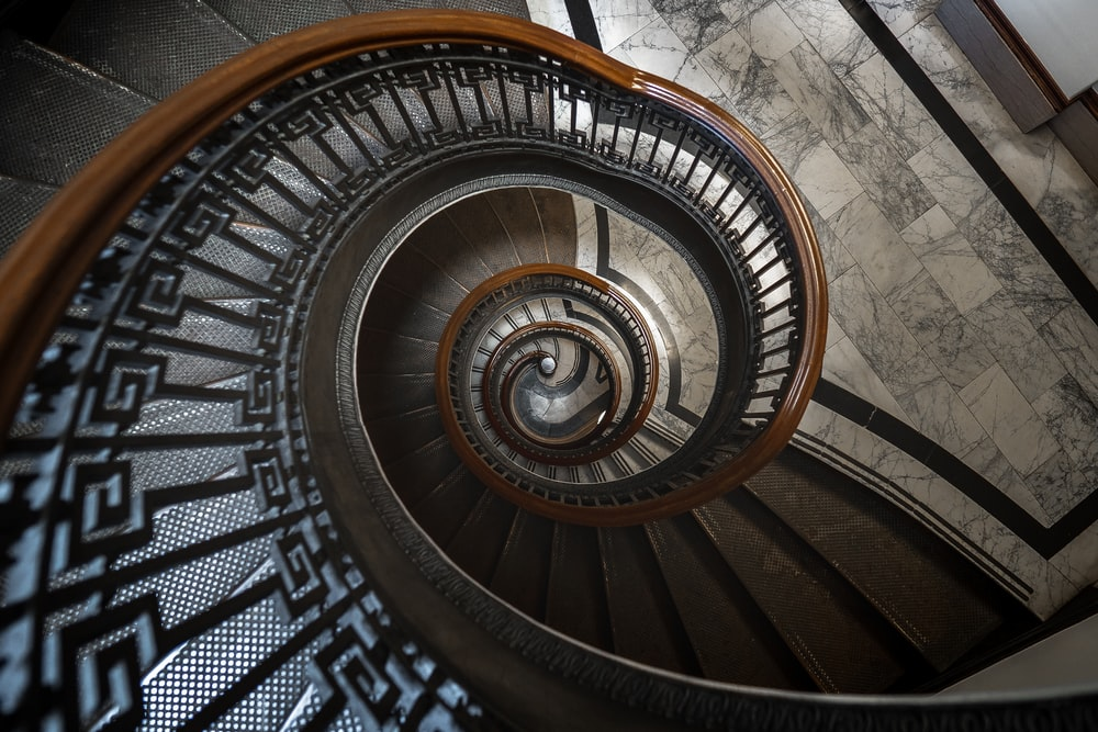 black and brown spiral staircase