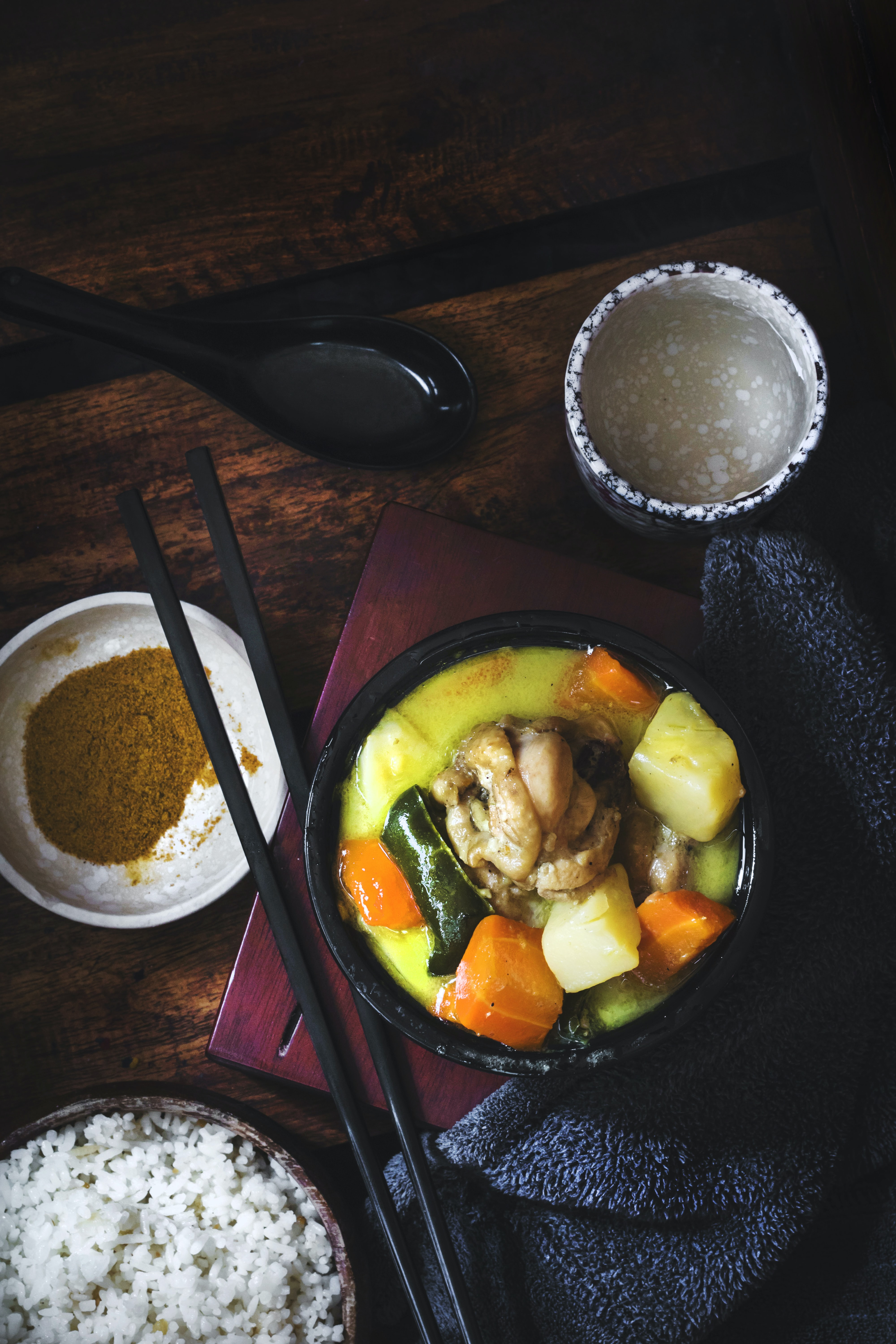chicken curry with spices dish