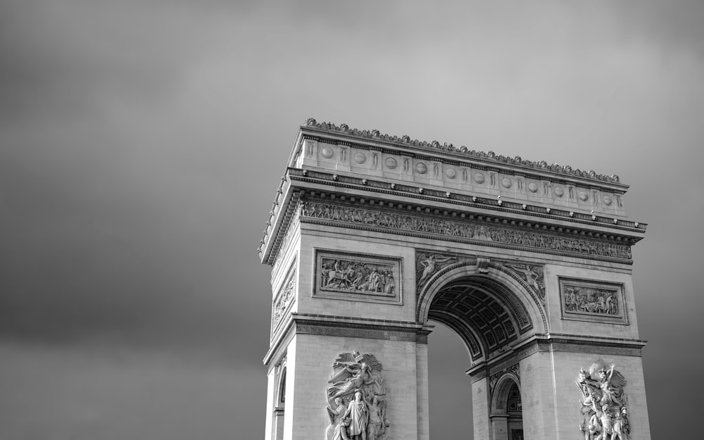 grayscale photo of Arch de triumph