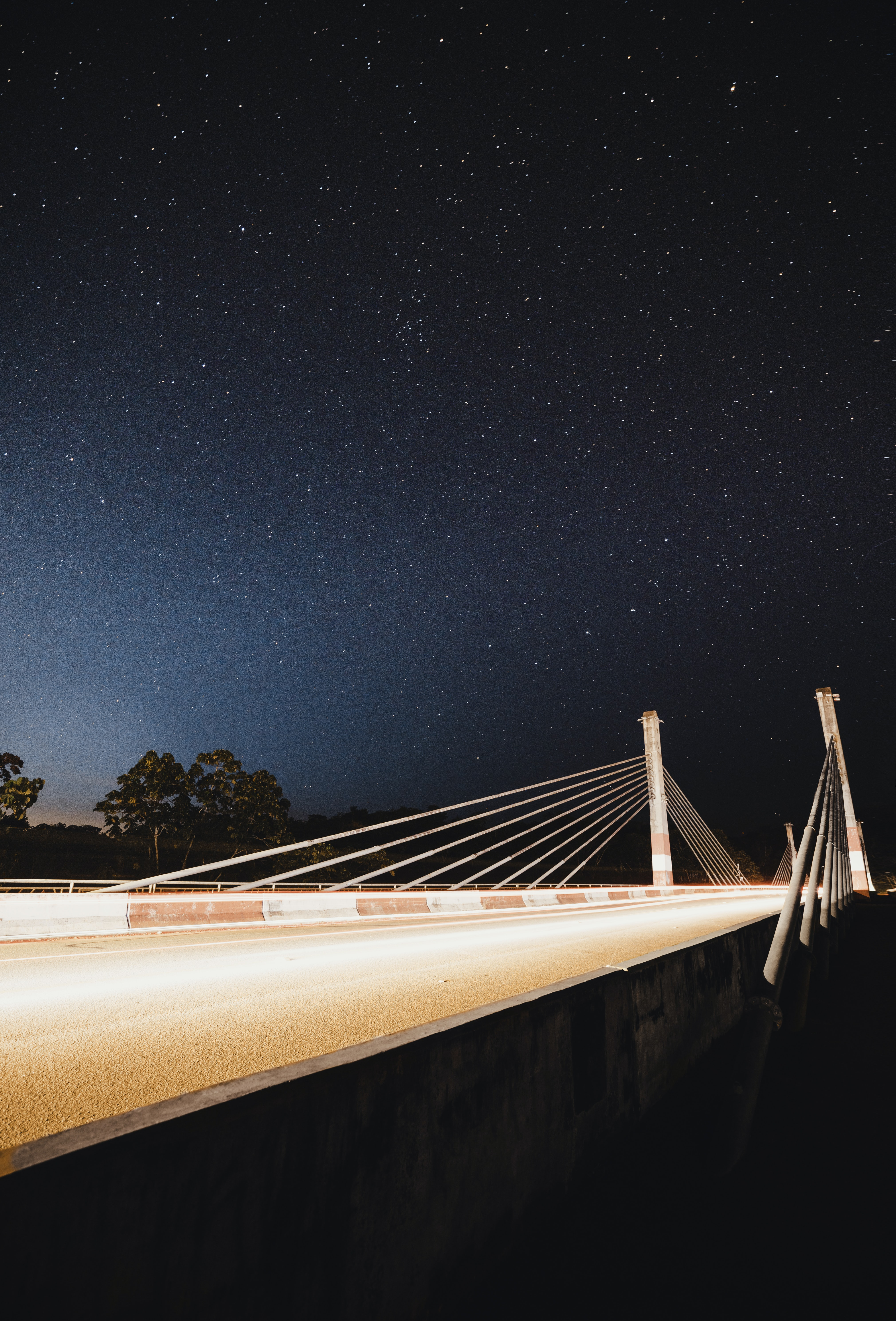 photo of suspension bridge during nighttime