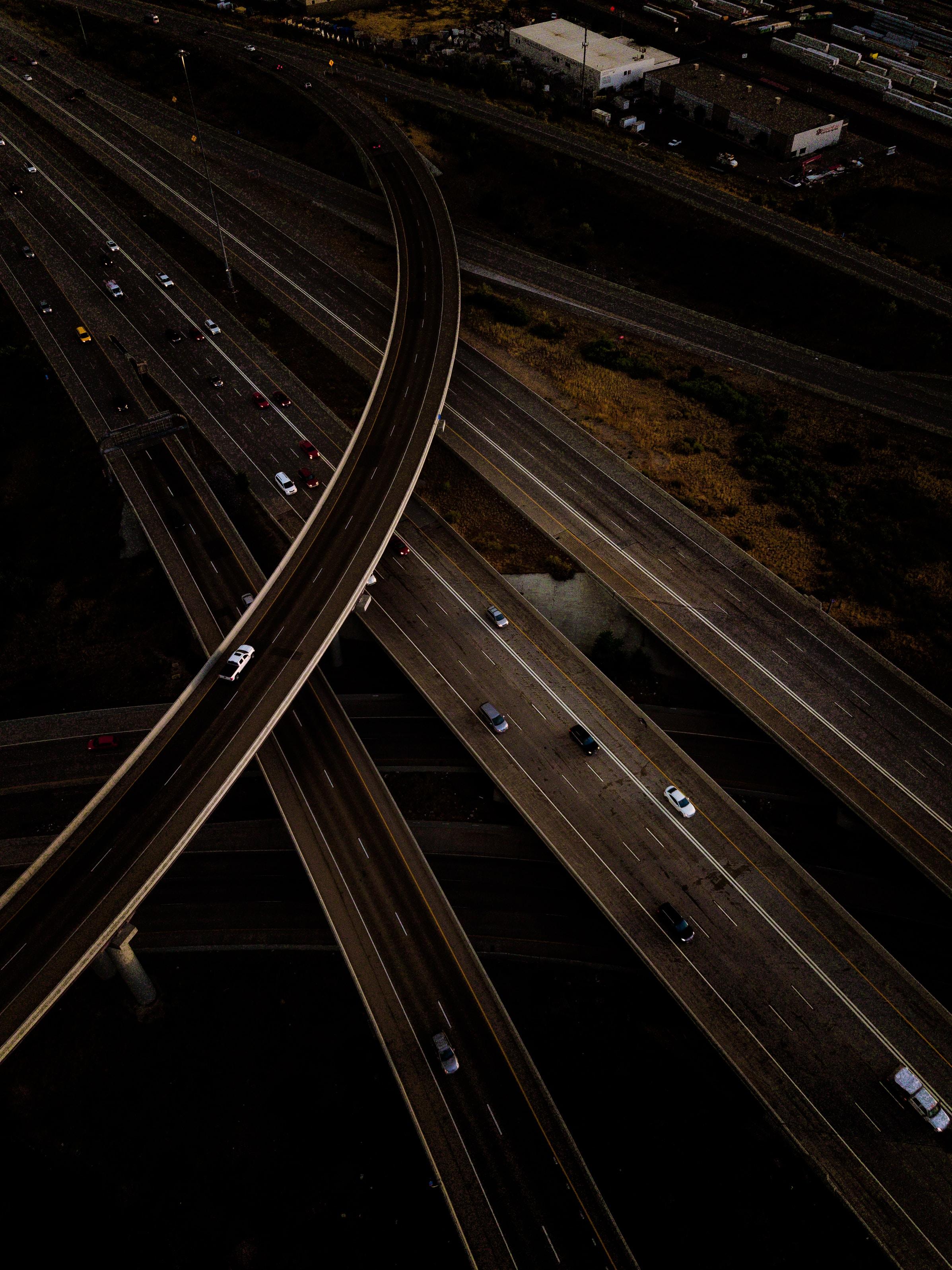 bird's-eye view of roadways