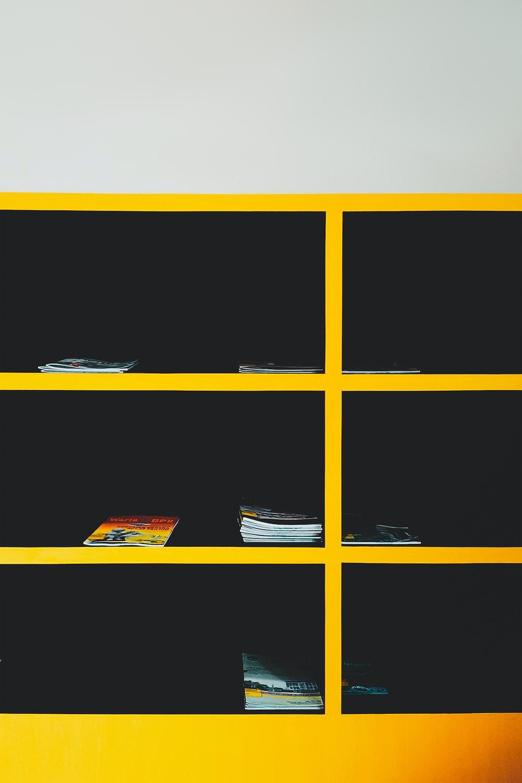 yellow shelf