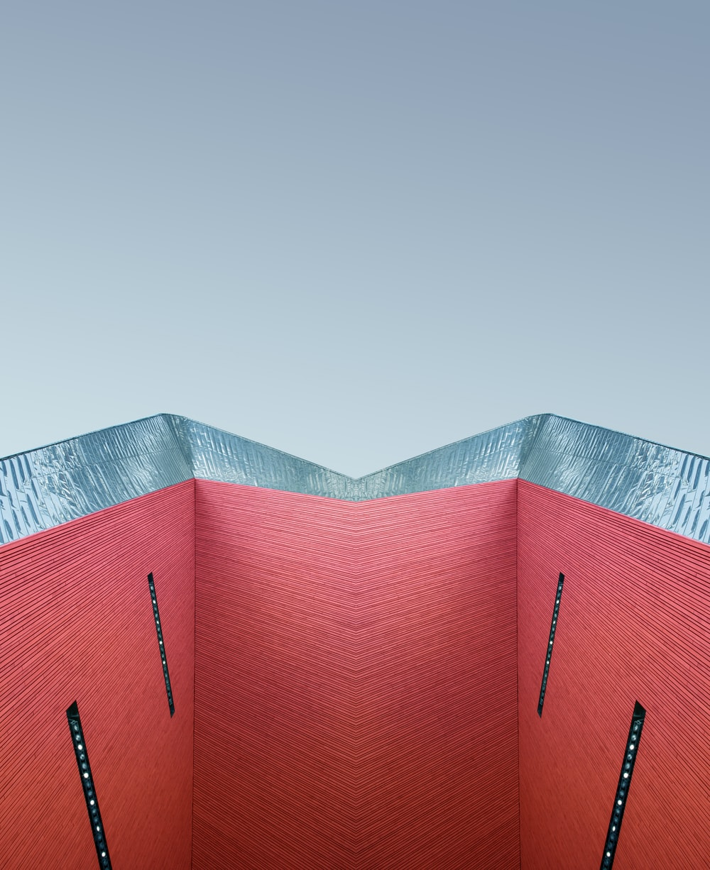red and blue architectural photography