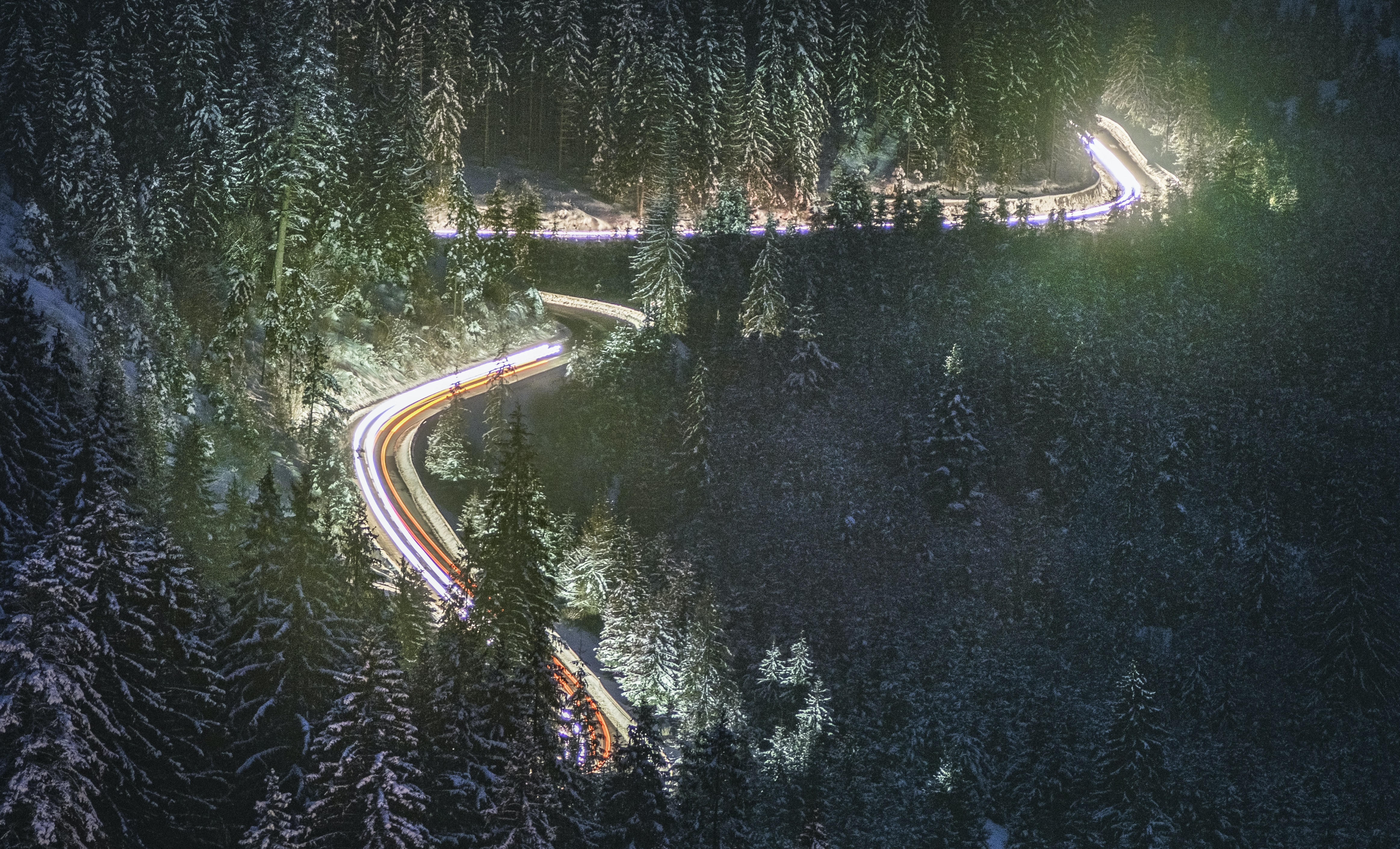 time-lapse photography of mountain pass