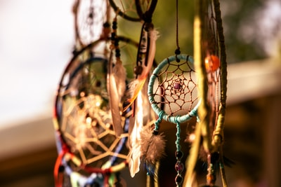 close-up photography of assorted-color dreamcatchers decoration teams background