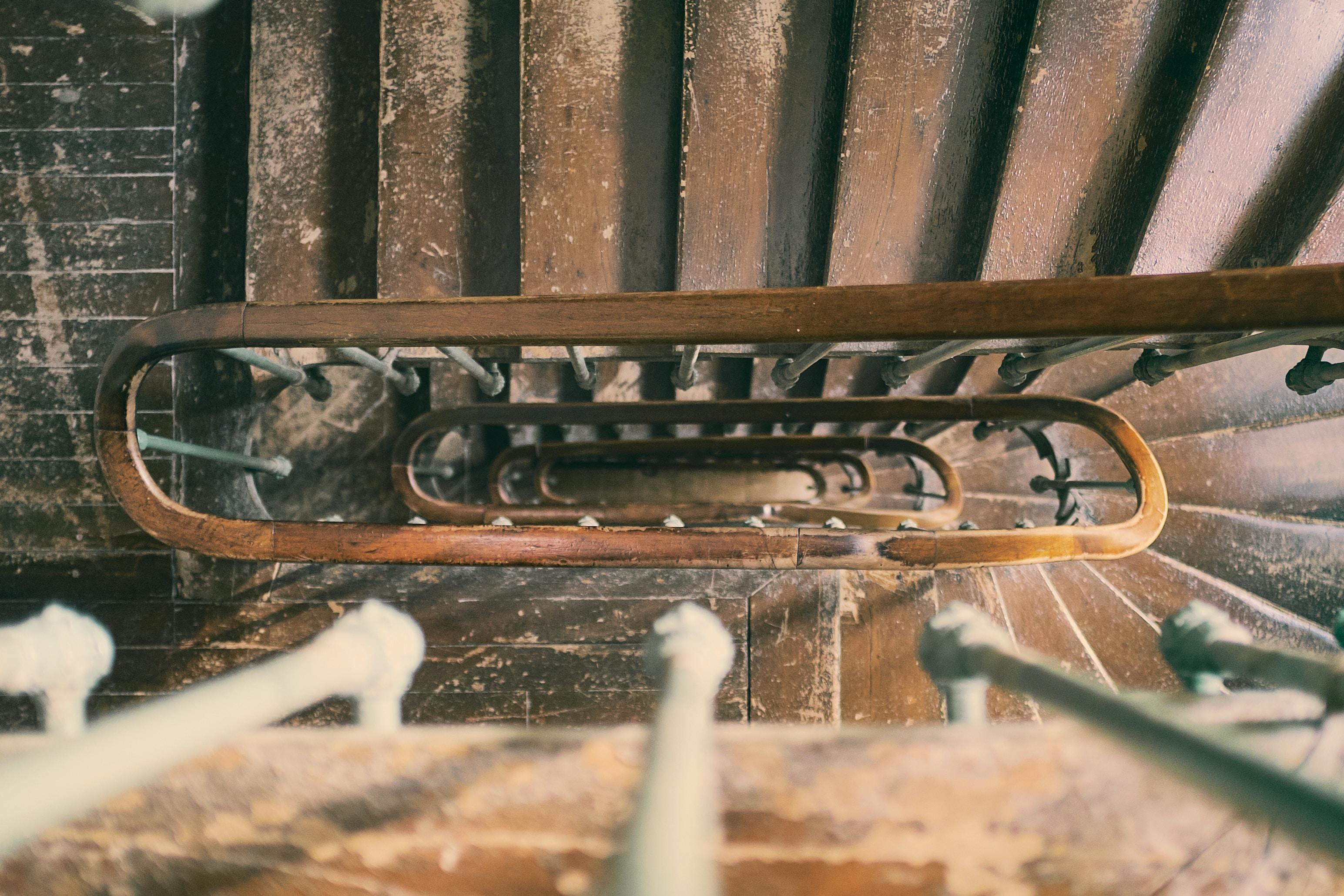 high angle photo spiral staircase