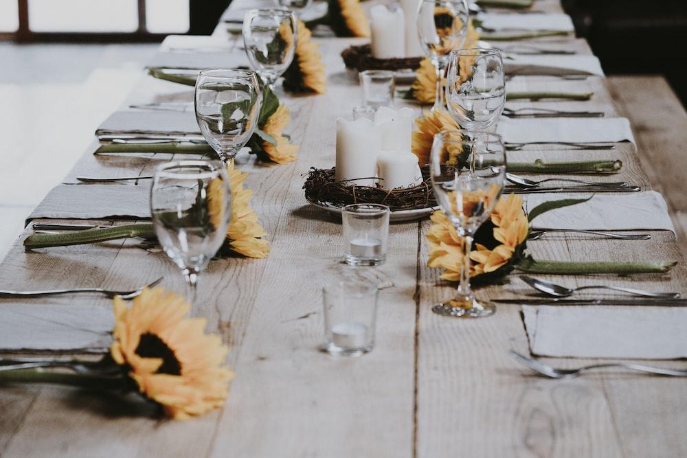 long-stemmed wine glass on table