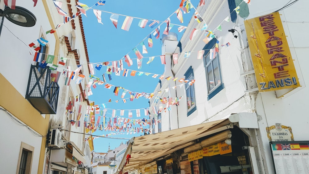 flaglets hanging between houses