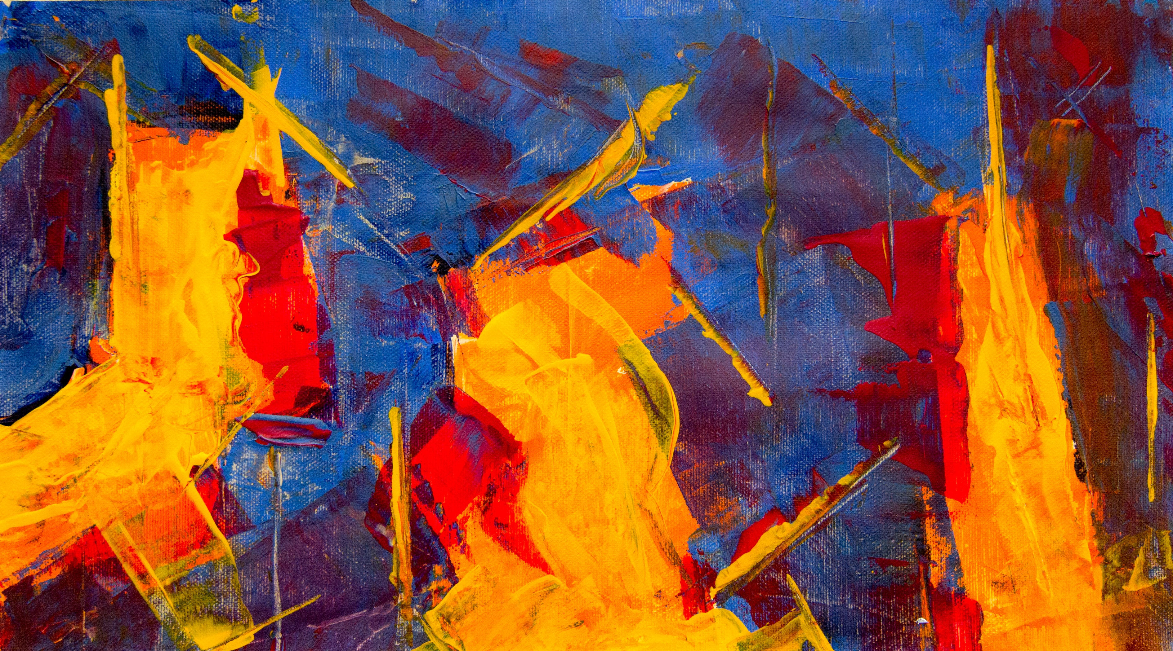 yellow, blue, brown, and red abstract painting
