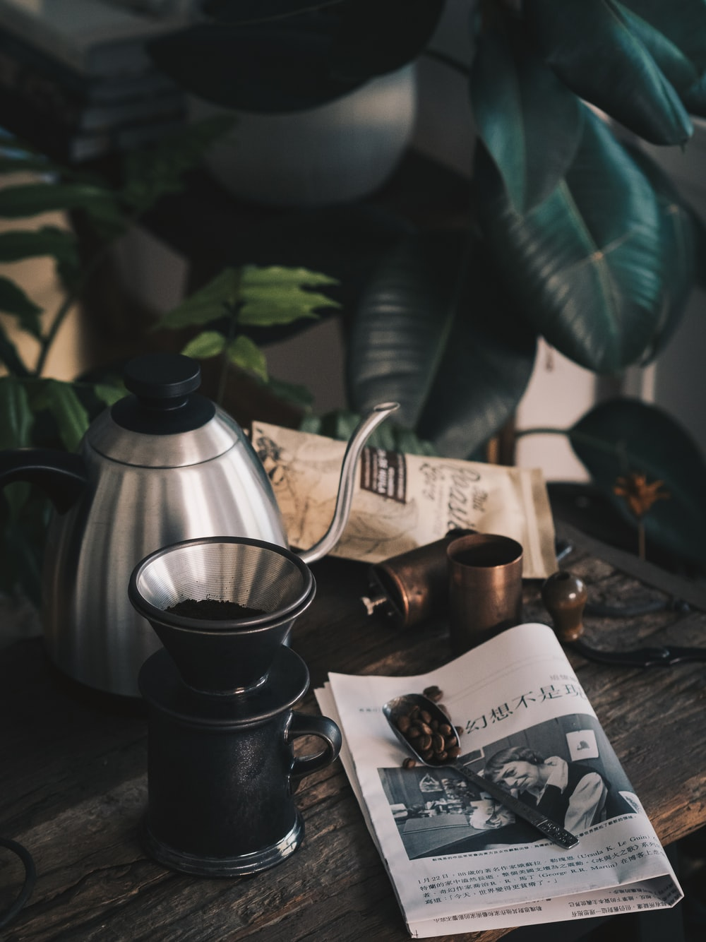 black coffee grinder beside gray stainless steel teapot near green rubber plant