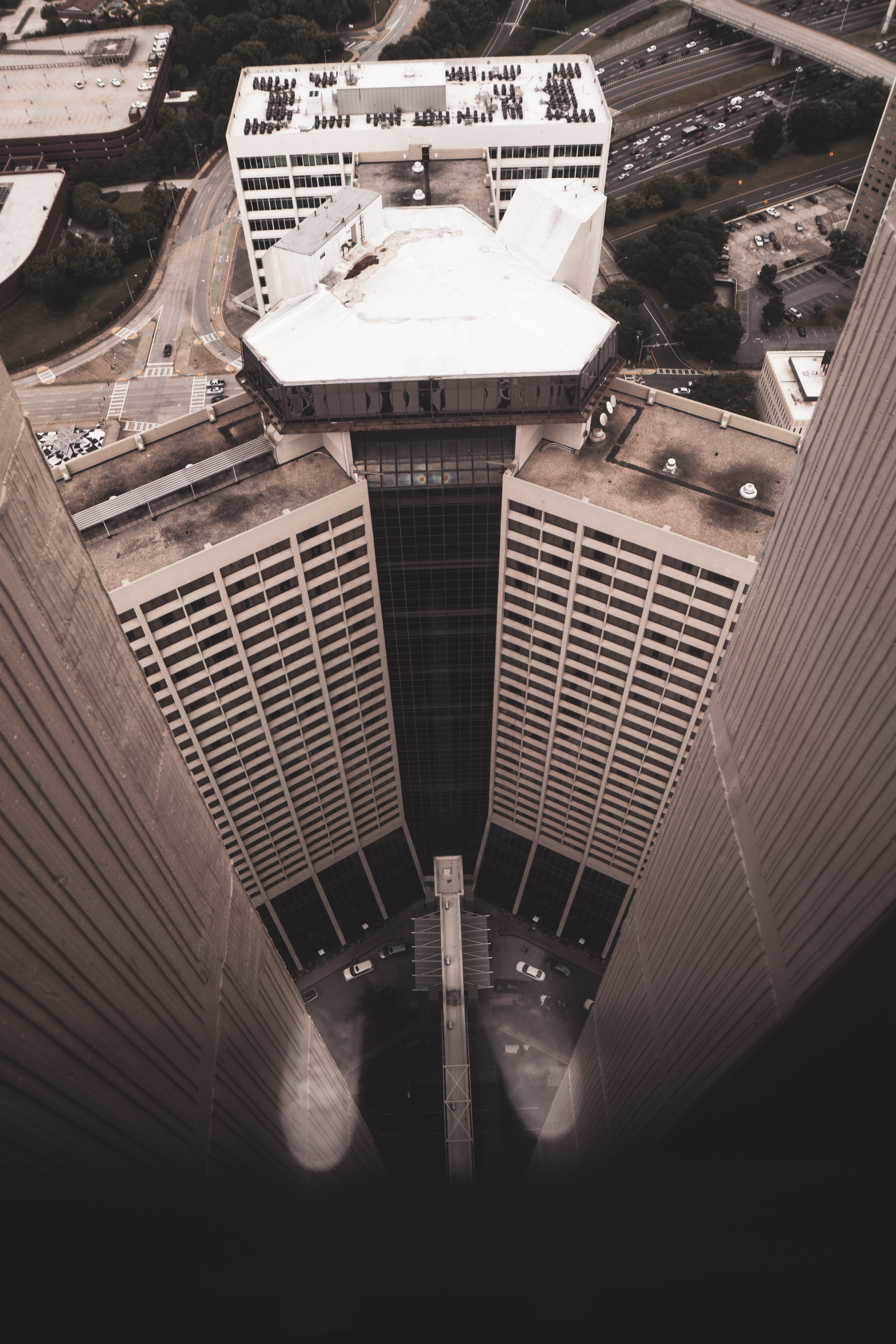 high-angle photography of building