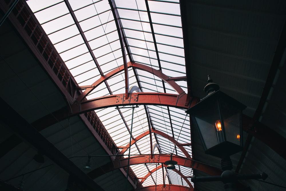 red metal framed ceiling